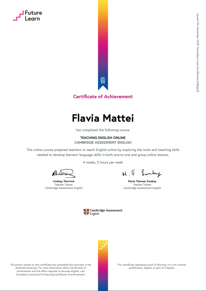 FLAVIA MATTEI CERTIFICATE OF ACHIEVEMENT TEACHING ENGLISH ONLINE CAMBRIDGE ASSESSMENT ENGLISH