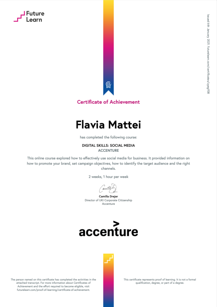 FLAVIA MATTEI CERTIFICATE OF ACHIEVEMENT DIGITAL SKILLS SOCIAL MEDIA ACCENTURE